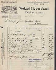 ZWICKAU, Rechnung 1908, Feine Spielwaren Wetzel & Ebersbach