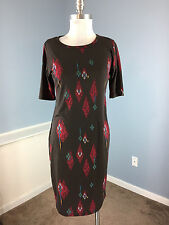 LULAROE M Julia Brown Red Aztec Print T Shirt Dress Excellent Casual Career  B7