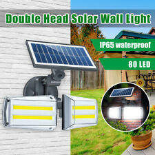 100W 80LED Dual Head COB Solar Wall Light Motion Sensor Outdoor Yard Garden Lamp