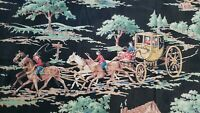 Antique Equestrian Horse Hound & Coach Graphic Fabric 36 x 30 Inch Panel