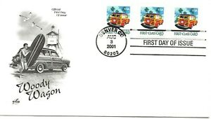 US Scott #3522, First Day Cover 8/3/01 Denver Coil of 3 Woody Wagon