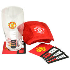MANCHESTER UNITED FC WORDMARK MINI BAR PINT GLASS TOWEL 4 BEER MAT XMAS GIFT