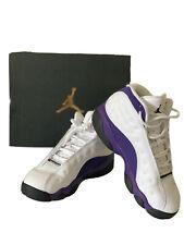 boys jordan retro 13 White/Purple Basket Shoes Size 1y W Box