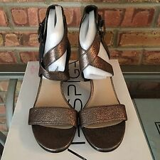 Via Spiga Jobina Crisscross Gunmetal Strap Block Heel Sandal  Size 7.5 BNIB $195