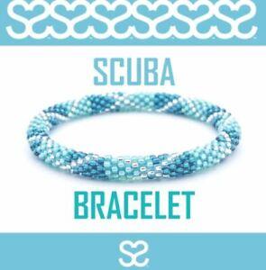 "Sashka Co Regular 6-8"" SCUBA Glass Beaded BRACELET teal blue clear Nepal jewelry"