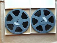 "2 x 10,5"" Reels Tonband Spulen 26,5 cm grau in weißen Schuber m. Bandmaterial"