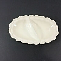 Oval Divided Relish Serving  Ceramic Dish Scalloped Edge