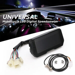 Universal Motorcycle LCD Digital Speedometer Odometer Backlight Cylinders Meter