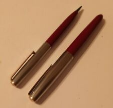 Parker 21 Deluxe Chrome Cap Gold Clip Red Barrel Fountain Pen Pencil Set w/ Box