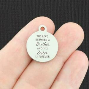 Family Stainless Steel Charm -brother and sister - BFS5113
