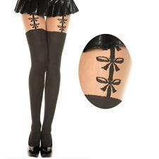 Sheer Black Illusion Thigh High Faux Suspender Fake Bow Garter Pantyhose Tights