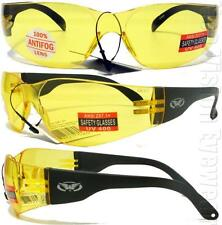 1 Global Vision Rider Yellow Anti Fog HD Safety Glasses Sun Night Driving Z87+