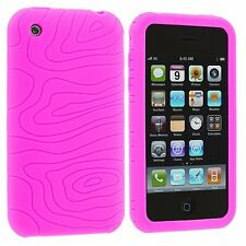 2 X Hot Pink Clear Silicone Swirl Rubber Gel Skin Case Cover for iPhone 3G S 3GS