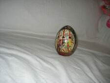 """Collectable procelain egg w/ Japanese Geishas in gold trim 4 1/2"""" egg shape"""