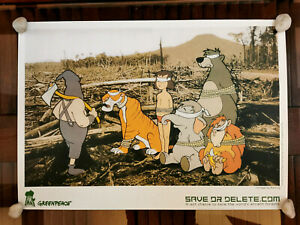Banksy '' Save or delete '' authentic poster Greenpeace Disneyland signed Kaws
