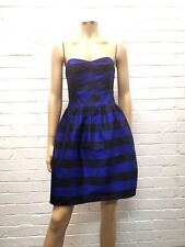 Whistles Stunning 100% Silk Navy & Black Bustier Gown Uk 10 Bow Back