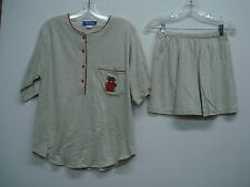Nancy King Lingerie 2 Piece Pajama Shorts & Top Set Size S Grey w/ Red #552N