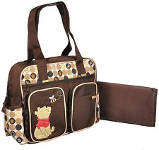Disney Winnie Pooh Baby Brown Large Tote Diaper Bag Nappy Bottle Bag NWT