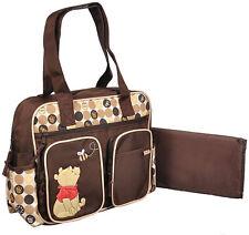 Disney Winnie Pooh Baby Brown Large Tote Diaper Bag Nappy Bottle Bag NWT