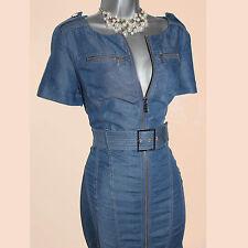 Karen Millen Blue Tencel Denim Front Zip Office Shirt Pencil Dress UK-10 DN015