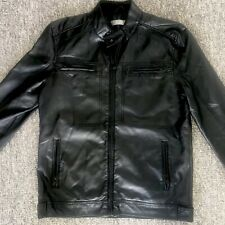 Mens Fluid Leather Faux Jacket Coat Size Medium - Pit To Pit (20.5 Inches)