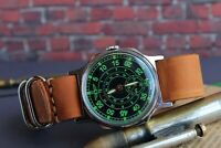 Pobeda Vintage mens watch Green Shturmanskie Russian watch + New Leather Strap