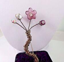Vintage  Flower Silver Wire Wrap Amethyst Purple Clear Rhinestone AB Brooch