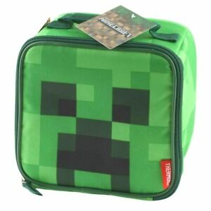 Thermos Minecraft Cube Tote Lunch Box Bag Kids Insulated Container Food Student