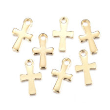 100pcs Gold Plated 304 Stainless Steel Cross Charms Smooth Dangle Pendants 12mm