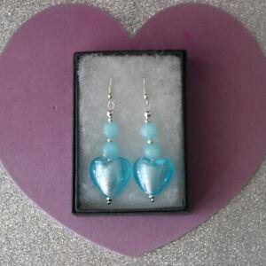 Beautiful Silver Earrings With Blue Murano Glass & Opaline  5 Cm. Long + Hooks