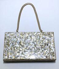 Vintage confetti glitter lucite handle purse bag handbag