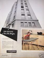 PUBLICITÉ 1957 DILOPHANE LA FIBRE DIAMOND STATIFIÉ DÉCORATIF - CHAT -ADVERTISING