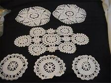 6 Pc. Vintage Crochet Doilies Doily Pieces White Various Sizes Shapes Designs