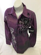 ROAR WOMENS Long Sleeve Shirt Button Down WESTERN MULTI COLOR STONES SMALL 134