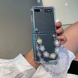 For Samsung Galaxy Z Flip3 5G Case with Luxury Beauty Flowers Two Bracelet Chain