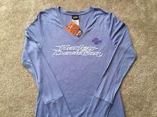 Harley Davidson Moisture Wicking Long Sleeve Ice Blue Shirt NWT Women's Small