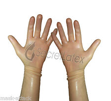 LATEX TRANSPARENT GUM SHINY WRIST GLOVES HANDS RUBBER FETISH COSPLAY ADULT BODY