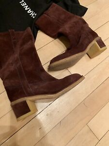 Chanel CC Beige Brown Suede Boots- Size 37