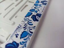Blue Khokhloma style holder for EURO license plate frames FOR ALL CARS