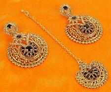 10202  Designer Wedding Earring Maang Tikka Set White Pearl Stone Polki Jewelry