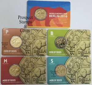 2016 - 5 x MOB OF ROOS Privymarks- Buddy Bear, P, B, M, S - $1 Aust UNC Coins