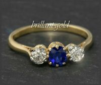 Antiker (um 1920) Diamant & Saphir Ring, Damen Solitärring 585 Gold, Handarbeit