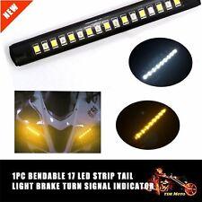 1 x Car Motorcycle 17 LED Strip Light Tail Turn Signal Indicator White + Amber