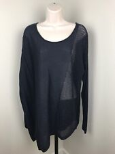 Anthropologie Moth Small Navy Shimmer Asymmetrical Thin Sweater Oversized