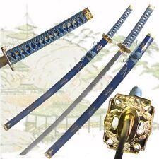 FULL TANG Katana of the Warrior Sword Golden Dragon Tsuba 440 Stainless Blue