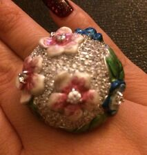Sterling Silver & Multi Color Enamel Cocktail Ring Size 7
