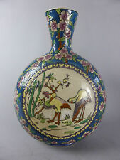 BLEUS DE LOUVIERE ENAMELLED CERAMIC VASE FLOWERS DECORATION HANDMADE AND PAINTED