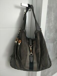Gucci Jackie Web Hobo Shopper Bag Shoulder Gray Suede Leather Tassels 218491