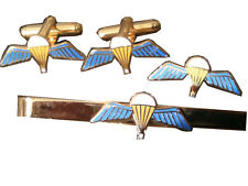 Parachute Qualification Wings Gift Set Military Cufflinks, Lapel Badge, Tie Clip