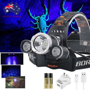 BORUiT RJ3000 3X UV LED Headlamp USB Fishing Biking Head Torch Light Work Lamp